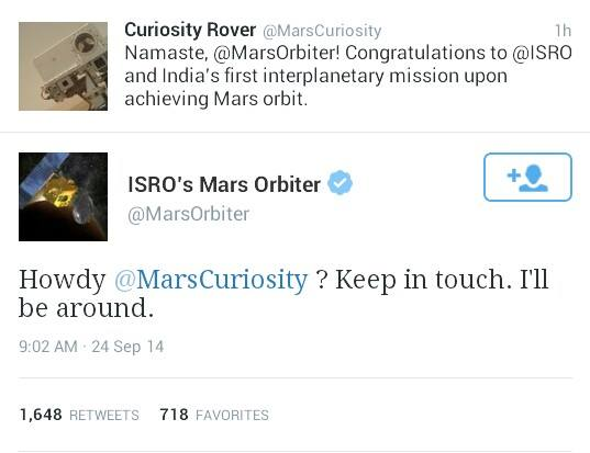 Looks like Mangalyaan already made a friend on arrival at Mars