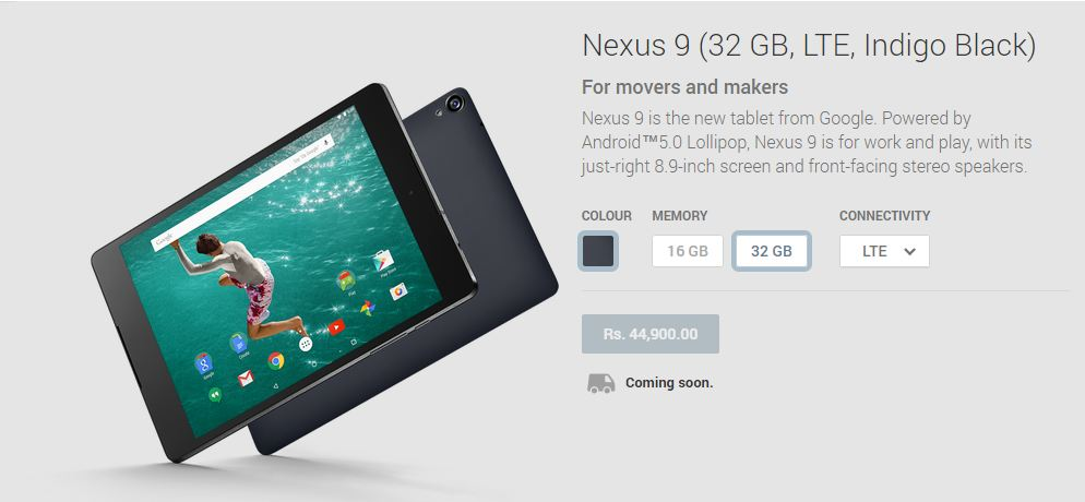 Google Nexus 9 Price Details for India
