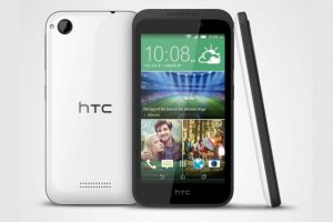HTC Desire 320 with 4.5-inch LCD display and 1.3 GHz quad-core MediaTek processor.