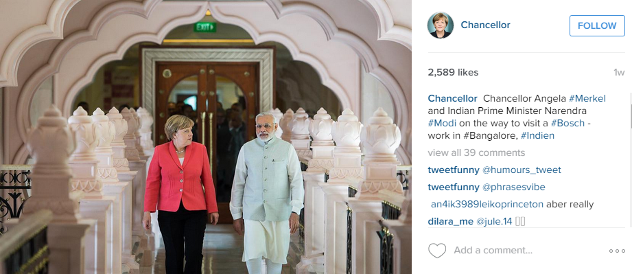 Angela Merkel with the Indian Prime Minister Narendra Modi