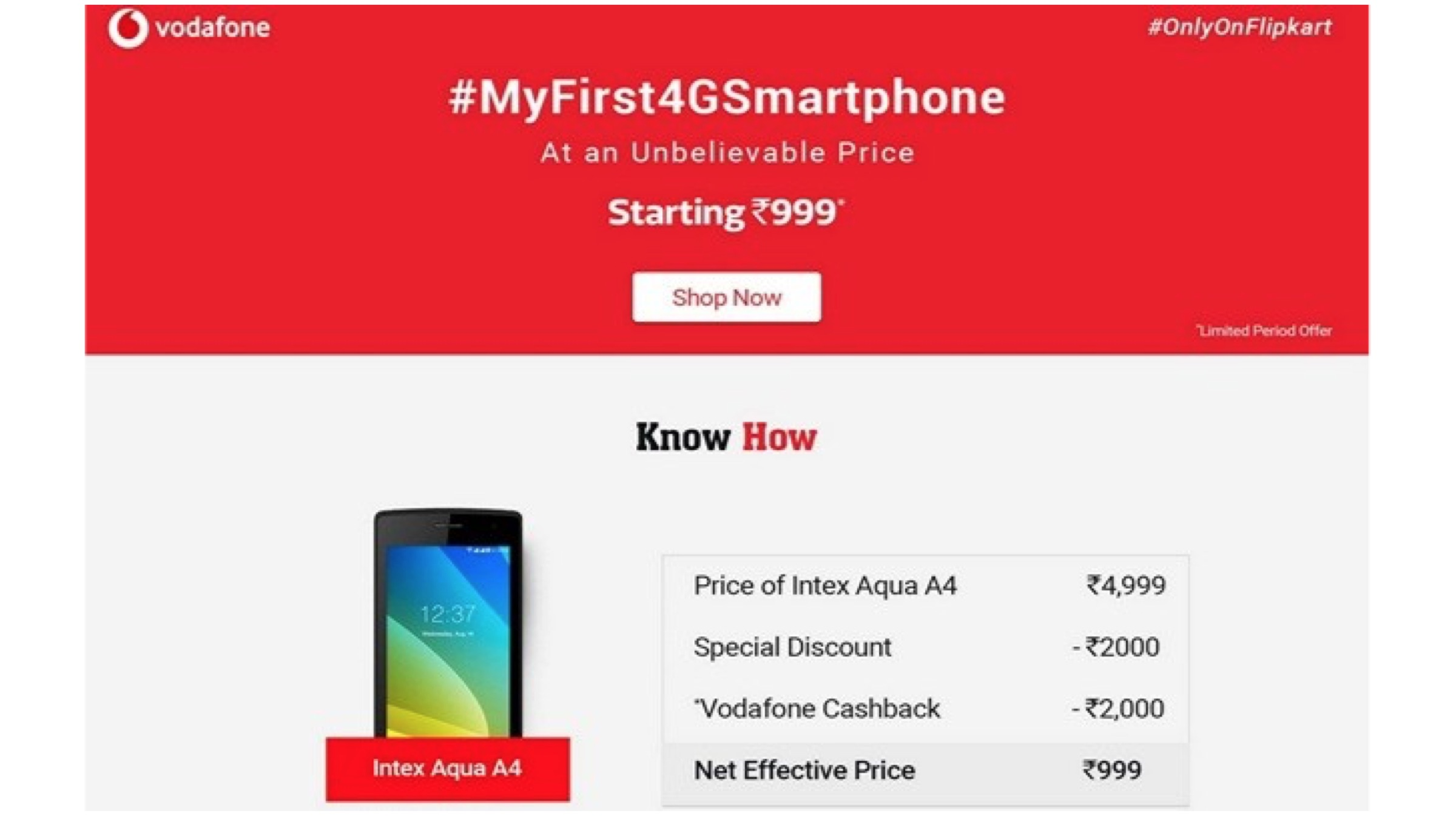Vodafone And Flipkart Offer 4G Smartphones At Rs  999 | iGyaan
