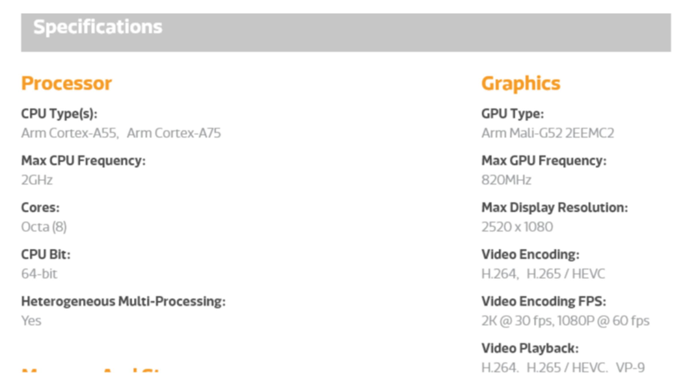 MediaTek Helio P65 CPU